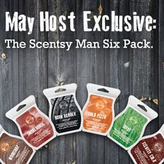 Scentsy May 2013 Host Exclusive- The Scentsy Man Six Pack! Available while supplies last to Scentsy Hosts only for 30.00 using Host Rewards they earn with a qualifying party of 150 (U.S.) or more, so book your party with me today! https://susanchov.scentsy.us