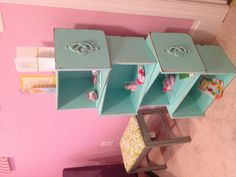 DIY shelf from old drawers and ottoman for baby room