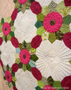 close up, Big Bertha by Margaret Solomon Gunn. Dresden plate design.  Masterpiece Award, 2014 Road to California.  Photo by Quilt Inspiration.
