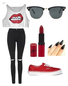 """""""Untitled #4"""" by nemesviki ❤ liked on Polyvore featuring Topshop, Vans, Rimmel and Ray-Ban"""