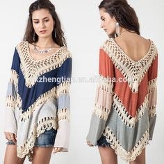 Free Shipping Fashion Women's Lace Crochet Loose Tops Long Sleeve Shirt Kimono Casual Blouse Suppliers within a Short Time