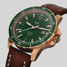 Coming Soon  to kickstarter, register your interest today on bernwatch.com  42mm Solid Bronze Case, powered by Miyota 8215 japanese Automatic movement, 300m/1000ft Dive depth, unidirectional clicking bezel with Swiss X1-Grade GL-C3 Superluminova on indexes, hands and aluminium bezel insert. Anti Reflective coated Sapphire Crystal.  Top Spec Bern, Watch Brands, Wood Watch, Emerald Green, Omega Watch, Sapphire, Bronze, Hands, Japanese