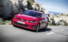 Lataa kuva 4k, Volkswagen Golf GTI, 2018 autoja, tie, punainen Golf, Volkswagen