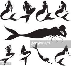 mermaid silhouette vector - Google Search