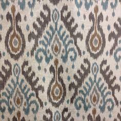 Fez Chalcedony Polyester Velvet Ikat Upholstery Fabric by Braemore