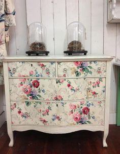 Dresser with vintage wallpaper drawers