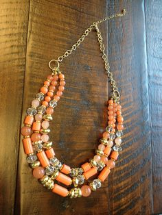 Coral/Orange Stone and Bead Necklace by MalibuJewelry on Etsy, $16.95