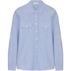 Frame Denim Le Boyfriend cotton shirt ($295) ❤ liked on Polyvore featuring tops, blouses, shirts, light blue, boyfriend shirt, cotton blouses, oxford shirt, cotton shirts и light blue top