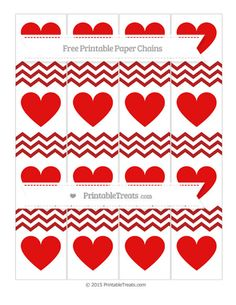 Fire Brick Red Chevron  Heart Paper Chains
