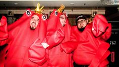 These lobster costumes are adorable! Article: The 70000 Tons of Metal cruise has sold out all seven years of its existence, necessitating a bigger ship. Lobster Costume, Costume Ideas, Costumes, Event Organization, Sailor, Cruise, Dress Up, Ship, Fan