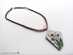 Handmade, hand painted necklace with lovely poppies. #theworldofadinosaur #handmade #handpainted #necklace