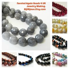 https://www.etsy.com/listing/201527697/gray-quartz-round-beads-grey-faceted?ref=shop_home_active_2&ga_search_query=faceted #Faceted #agate #beads #jewelry