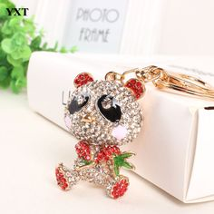 Bamboo Red Panda Keyring Cute Lovely Pendant Charm Crystal Purse Bag Car Key Chain Birthday Weddding Party Gift #Affiliate