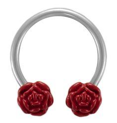 Red Rose Flower Circular Cartilage Earring Barbell-Nipple Ring-Septum-Belly Hoop-14 gauge www.bionto.com