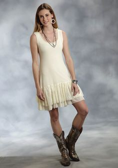 Roper® Cream Mesh Lace Ruffled A-Line Western Dress