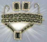 VINTAGE RHINESTONE JEWELRY SET, BRACELET, EARRINGS, NECKLACE