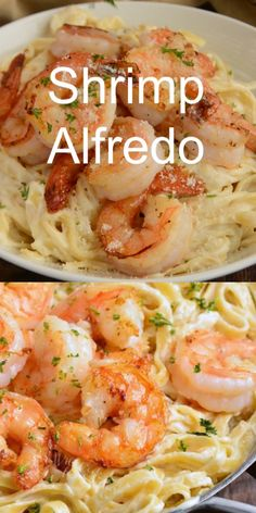 Easy Shrimp Alfredo recipe made with homemade Alfredo Sauce, fettuccine, and juicy Parmesan Coated Shrimp. This is such a comforting family dinner and it's ready in only 30 minutes. pasta alfredo The BEST Shrimp Alfredo Recipe Shrimp Recipes For Dinner, Shrimp Recipes Easy, Seafood Dinner, Fish Recipes, Easy Shrimp Pasta Recipes, Easy Family Dinner Recipes, Shrimp And Spinach Recipes, Family Dinner Ideas, Meatless Pasta Recipes