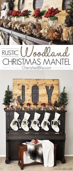 Rustic-Woodland-Christmas-Mantel-2014.jpg (700×1647)