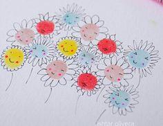 Finger paint flowers