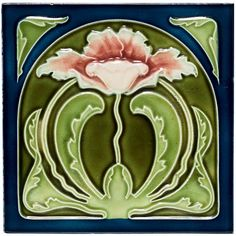 Art Nouveau tile with green , blue, and pink - Vintage floral