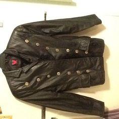 VINTAGE VIRGINIA SLIMS BLACK LEATHER  MILITARY DOUBLE BREASTED JACKET Sz M Coat #VirginiaSlims