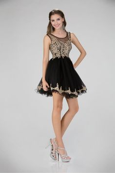 G1334 High Neck Sparkling Jewel Embroidered Cocktail Homecoming Dress