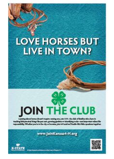 """Love Horses But Live In Town?    Join 4-H!  (To purchase this poster please see the website listed next to """"From:"""" located directly above this picture)"""