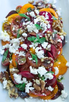 Summer Tomato Salad with Beets, Plums, and Feta