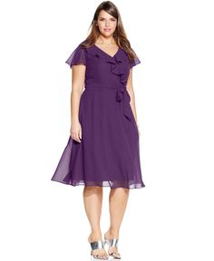 Le Bos Plus Size Ruffle A-Line Dress