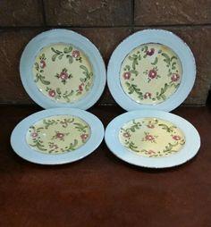 4 Home Bizzirri Mara Italy Yellow Hand Painted Floral Pottery Salad Plates #HomeBizzirri