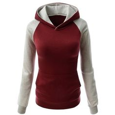 Color Block Hooded Long Sleeve Pullover Hoodie ($17) ❤ liked on Polyvore featuring tops and hoodies