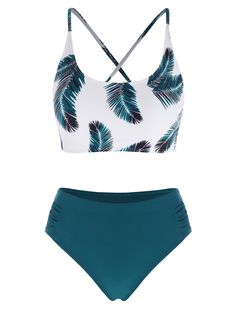 [-4% OFF] 2021 Leaf Print Lace Up Ruched Mix And Match Tankini Swimwear In DEEP GREEN | DressLily Swimsuits For Teens, Neck Pattern, Bra Styles, Swimwear Fashion, Mix N Match, Leaf Prints, Role Models, Printing On Fabric, Tankini