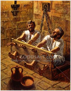 Paul and Silas sing in prison Bible Photos, Bible Pictures, Jesus Pictures, Christian Paintings, Christian Artwork, Bible Love, Faith Bible, Scripture Art, Bible Art