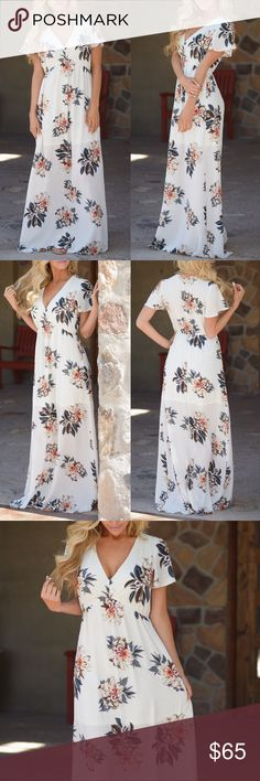ADALINE floral maxi dress - IVORY Step out in class and style wearing this feminine floral dress! Ivory, v-neck maxi dress with floral print and short, flutter sleeves. Elastic band at waist. Partially-lined.  TRUE TO SIZE  100% polyester  NO TRADE  PRICE FIRM Bellanblue Dresses Maxi
