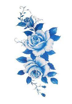 Elizabeth Blue Flower Temporary Tattoo