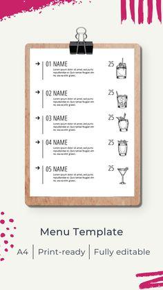 Menu template | Шаблон меню Menu Template, Templates, Menu Online, Restaurant Menu Design, Cocktail Menu, Web Browser, Cabana, Lorem Ipsum, Cocktails