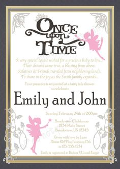 'Once Upon a Time' Baby Fairy Tale Shower Invitations- Colors and fonts customizable! **Need them today? DIY Printing Available** Matching items available