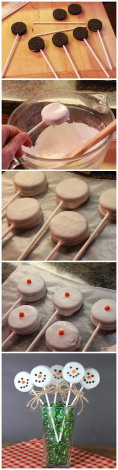 Oreo Snowmen Pops would look great at any holiday party!  Use black frosting dots for eyes and mouth, and half an orange Tic-Tac for the snowman's nos - See more at: http://www.redstarrecipe.com/2013/10/oreo-snowmen-pops.html#sthash.Uh9L9CQO.dpuf