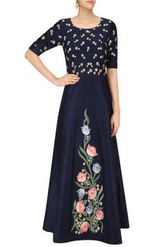 Kittu Khosla Navy Floral Embroidered Fit and Flared Gown #happyshopping#shopnow#ppus