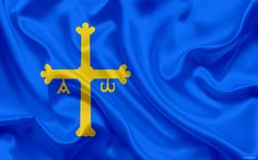 Download wallpapers Flag of Asturias, autonomous community, Spain, Asturian principality, silk flag, coat of arms