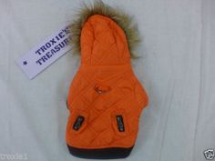 Dog Coat With Hood Faux Fur On Hood Lined With Leash Ring Orange Small New