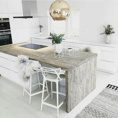55 Smart Innovative Kitchen Island Ideas and Designs to Makeover Your Home - Contemporary Modern Kitchen Small Kitchen Ideas, DIY, Kitchen Remodel - Designblaz Decor, Kitchen Interior, Interior, Home Decor, House Interior, Nordic Kitchen, Home Kitchens, Interior Design, Home And Living