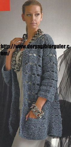 Crochet Cardigan Expression You can see the big version by clicking on the articles . Crochet Coat, Crochet Jacket, Knit Jacket, Crochet Cardigan, Crochet Shawl, Crochet Clothes, Big Cardigan, Baby Sweater Knitting Pattern, Vest Pattern