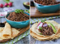 Chipotle Barbacoa Tacos (Tender shredded beef that is slow cooked in a spicy Mexican flavored sauce). Use with this paleo tortilla recipe: http://www.againstallgrain.com/2012/05/03/paleo-fish-tacos/