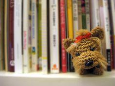 Amigurumi perrito en librero