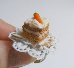 Food Jewelry Slice of Carrot and Walnut Cake Miniature by NeatEats