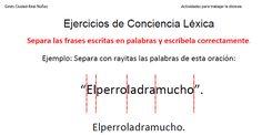 Dislexia Ejercicios de Conciencia Léxica Segmentación de frases cortas