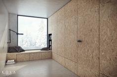 Product presentation for Entra, design and visualization: KOLA Studio; tags: plywood, hidden door, flush door with hidden frame, concrete flooring