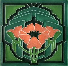 6x6 Poppy in Green Salmon by Motawi Tileworks