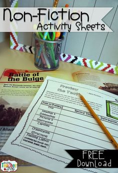 NON-FICTION Activity Sheets! Go with ANY text.  Literacy Centers & Guided Reading!  FREE